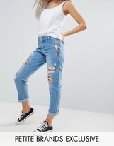 Urban Bliss Petite Embroidered Floral Mom Jeans With Turn Up Hem