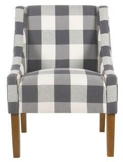 HomePop Modern Swoop Accent Chair - Blue Plaid