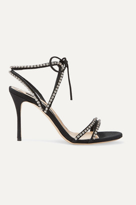 Sergio Rossi Crystal-embellished Faille Sandals - Black
