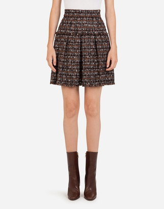 Dolce & Gabbana Short Tweed Circle Skirt With Flounce Detailing
