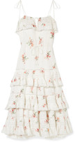 Zimmermann Heathers Lace-trimmed Tiered Pintucked Floral-print Cotton-voile Dress