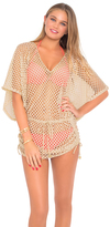 Luli Fama Starfish Wishes Gold Net Cabana V-Neck Dress in Gold (L475976)