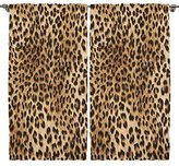 Leopard Tiger Zebra Digital Print Bedroom Living Room Dining Room Kids Youth Room Curtain Panels One of a Kind 2 Panel Set - Machine Washable Silky Satin Window Treatment (Leopard, 108 Wx84 L)