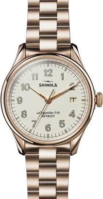 Shinola 38mm Vinton Bracelet Watch, White/Champagne