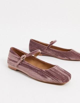 ASOS DESIGN Late mary jane ballet flats in mauve velvet