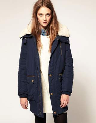 Vila Fur Funnel Collar Cocoon Coat-Blue