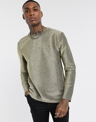 ASOS DESIGN festival muscle long sleeve t-shirt in gold sparkly fabric
