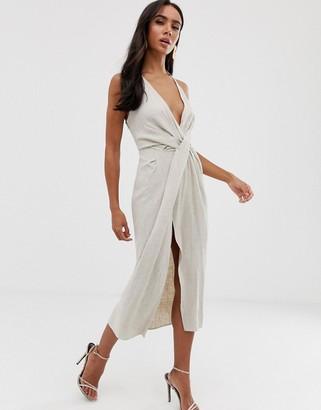 Asos Design DESIGN halter neck drape waist midi dress in textured linen-Beige