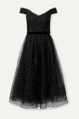 Marchesa Off-the-shoulder Glittered Tulle Gown - Black