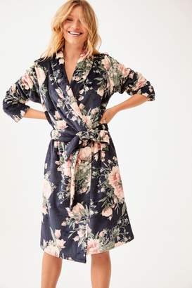 Next Womens Navy Floral Robe - Blue