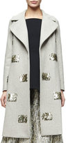 Lela Rose Metallic Fringe-Embellished Long Coat, Taupe/Gold