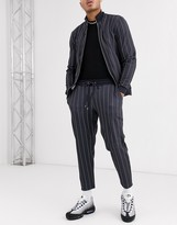 Asos Design DESIGN tracksuit with track jacket & smart tapered sweatpants in stripe