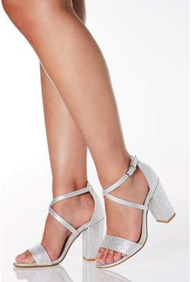 Quiz Wide Fit Silver Faux Leather Cross Strap Heeled Sandals