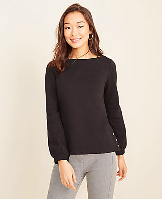Ann Taylor Petite Side Button Sweatshirt