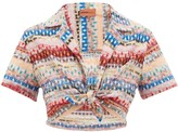 Missoni Mare - Cropped Glitter-striped Lace-knitted Shirt - Womens - Multi