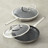 Williams-Sonoma Professional Stainless-Steel Nonstick Covered Fry Pan Set
