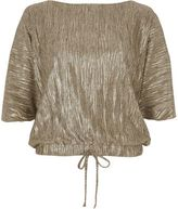 River Island Womens Gold metallic balloon hem tie T-shirt
