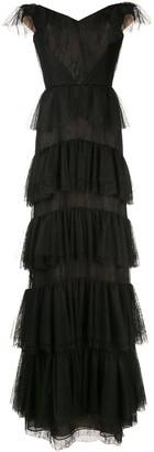 Marchesa Off-Shoulder Lace Gown