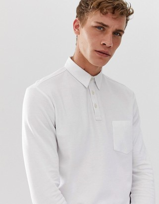 Selected long sleeve polo shirt with chest pocket-White