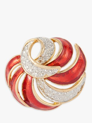 Susan Caplan Vintage Gold and Silver Plated Enamel Statement Swirl Brooch