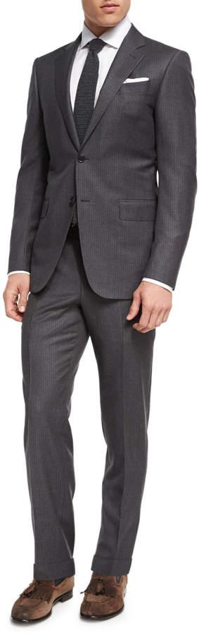 Ermenegildo Zegna Striped Wool Two-Piece Suit, Gray/Brown