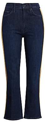 Mother Women's Insider High-Rise Side Stripe Cropped Flare Jeans