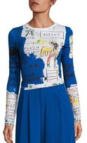 Alice + Olivia X Basquiat Delaina Printed Cropped Top