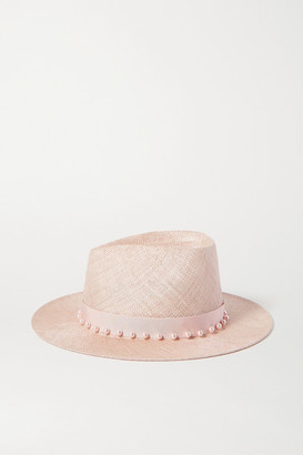 Eugenia Kim Blaine Faux Pearl-embellished Grosgrain-trimmed Sisal Fedora - Pink
