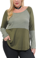 Celeste Olive Contrast-Stripe Scoop Neck Tunic - Plus