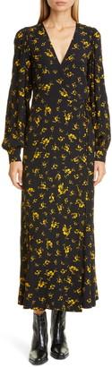 Ganni Floral Print Crepe Long Sleeve Midi Dress