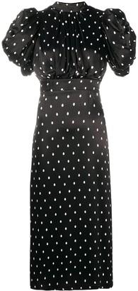 Rotate by Birger Christensen Oversized-Sleeve Polka Dot Dress