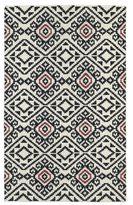 Tribeca Flatweave Black Motif Wool Rug (5' x 8')