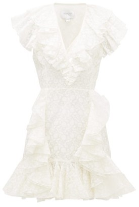 Giambattista Valli Ruffled Floral-embroidered Organza Mini Dress - Womens - Ivory