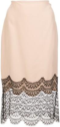 Kiki de Montparnasse Lace Trim Silk Skirt