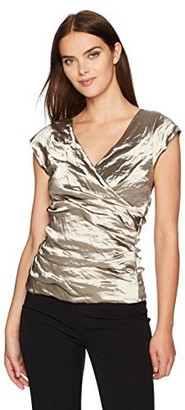Nicole Miller Women's Logan Techno Metal V Neck Top