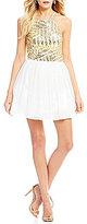 B. Darlin High Neck Sequin Bodice Party Dress