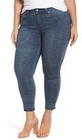 Melissa McCarthy Plus Size Women's Print Raw Edge Crop Skinny Jeans