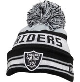 New Era NFL Oakland Raiders Striped Knitted Bobble Hat Black/Silver