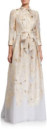 Rickie Freeman For Teri Jon Metallic Brocade Shirtdress Gown