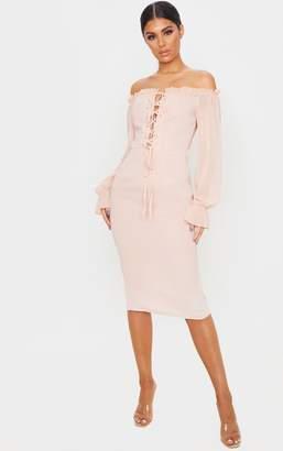 PrettyLittleThing Black Bardot Lace Up Chiffon Midi Dress
