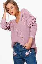 Boohoo Harriet V-Neck Distressed Jumper