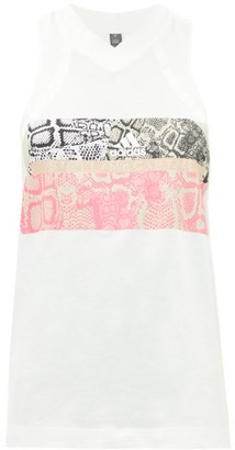 adidas by Stella McCartney V-neck Snake-print Cotton-blend Tank Top - Womens - White Print