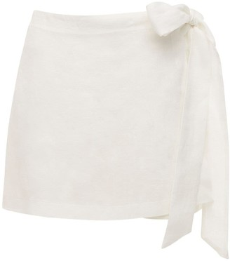 Ermanno Scervino Linen Mini Shorts W/ Side Self-tie Bow