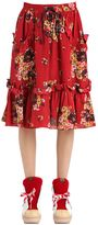 Coach Floral Printed Crepe De Chine Midi Skirt