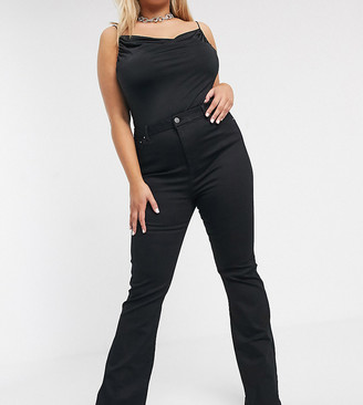 Asos DESIGN Curve Sculpt me bell flare jeans in clean black