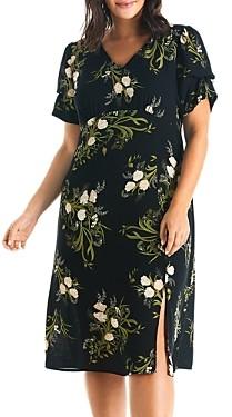 Estelle Plus Night Bouquet Floral Print Midi Dress