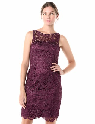 Adrianna Papell Women's Sleeveless Illusion Neck Lace Dress
