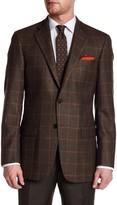 Hart Schaffner Marx Brown Plaid Two Button Notch Lapel Wool Sport Coat