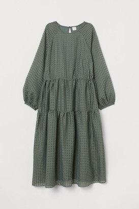 H&M Jacquard-weave Dress - Green