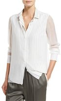 Brunello Cucinelli Striped Chiffon-Overlay Blouse, Multi